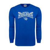 Royal Long Sleeve T Shirt-Baseball Arched w/ Crossed Bats