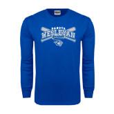 Royal Long Sleeve T Shirt-Baseball Arched w/ Crossed Bats
