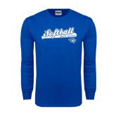 Royal Long Sleeve T Shirt-Softball Script