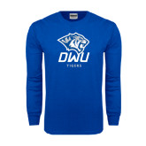 Royal Long Sleeve T Shirt-DWU Tigers w/ Tiger Head
