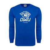 Royal Long Sleeve T Shirt-DWU Tigers w/ Tiger Head