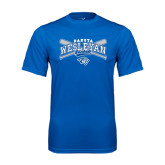 Performance Royal Tee-Baseball Arched w/ Crossed Bats