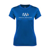 Ladies Syntrel Performance Royal Tee-University Combination Mark Stacked