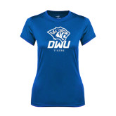 Ladies Syntrel Performance Royal Tee-DWU Tigers w/ Tiger Head