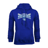 Royal Fleece Hoodie-Baseball Arched w/ Crossed Bats