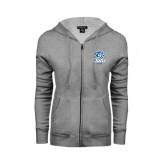 ENZA Ladies Grey Fleece Full Zip Hoodie-DWU Tigers w/ Tiger Head