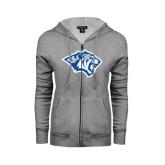 ENZA Ladies Grey Fleece Full Zip Hoodie-Tiger Head