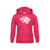 Youth Raspberry Fleece Hoodie-Tiger Head