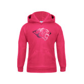 Youth Raspberry Fleece Hoodie-Tiger Head Foil