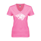 Next Level Ladies Junior Fit Ideal V Pink Tee-Tiger Head