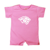 Bubble Gum Pink Infant Romper-Tiger Head