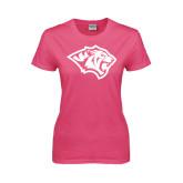 Ladies Fuchsia T Shirt-Tiger Head