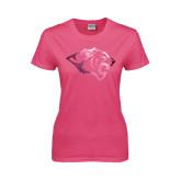 Ladies Fuchsia T Shirt-Tiger Head Foil