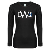 Ladies Black Long Sleeve V Neck Tee-University Mark