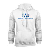 White Fleece Hoodie-University Combination Mark Stacked
