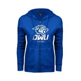 ENZA Ladies Royal Fleece Full Zip Hoodie-DWU Tigers w/ Tiger Head