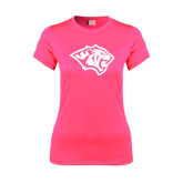 Ladies Performance Hot Pink Tee-Tiger Head