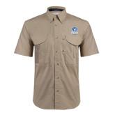 Khaki Short Sleeve Performance Fishing Shirt-DWU Tigers w/ Tiger Head