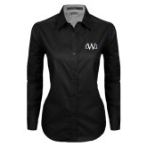 Ladies Black Twill Button Down Long Sleeve-University Mark