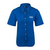 Ladies Royal Twill Button Up Short Sleeve-University Mark