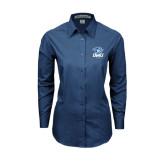 Ladies Deep Blue Tonal Pattern Long Sleeve Shirt-DWU Tigers w/ Tiger Head