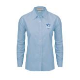 Ladies Light Blue Oxford Shirt-DWU Tigers w/ Tiger Head