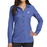 Ladies Red House French Blue Long Sleeve Shirt-DWU Tigers w/ Tiger Head