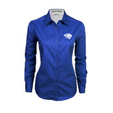 Ladies Royal Twill Button Down Long Sleeve-Tiger Head