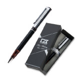 Cutter & Buck Black/Tortoise Shell Draper Ballpoint Pen-University Logotype Stacked Engraved