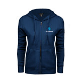 ENZA Ladies Navy Fleece Full Zip Hoodie-e3 Arrow Stacked