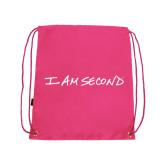 I Am Second Pink Drawstring Backpack-