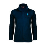 Ladies Fleece Full Zip Navy Jacket-e3 Arrow Stacked