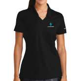 Ladies Nike Golf Dri Fit Black Micro Pique Polo-e3 Arrow Stacked