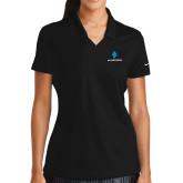 Ladies Nike Golf Dri Fit Black Micro Pique Polo-e3 Arrow Stacked