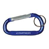 Blue Carabiner with Split Ring-e3 Partners Wordmark Engraved