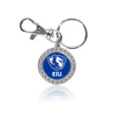 Crystal Studded Round Key Chain-Eastern Illinois Secondary