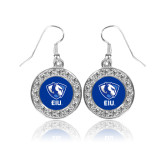 Crystal Studded Round Pendant Silver Dangle Earrings-Eastern Illinois Secondary