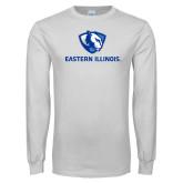 White Long Sleeve T Shirt-Eastern Illinois Logo