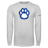 White Long Sleeve T Shirt-Panther Paw