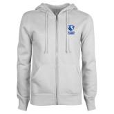 ENZA Ladies White Fleece Full Zip Hoodie-EIU Primary Logo