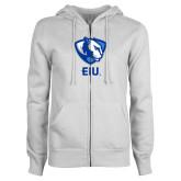 ENZA Ladies White Fleece Full Zip Hoodie-Eastern Illinois Secondary
