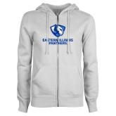 ENZA Ladies White Fleece Full Zip Hoodie-Eastern Illinois Panthers