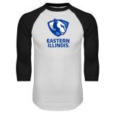 White/Black Raglan Baseball T Shirt-EIU Primary Logo