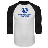 White/Black Raglan Baseball T Shirt-Eastern Illinois Panthers