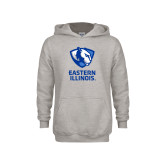 Youth Grey Fleece Hood-EIU Primary Logo