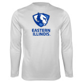 Performance White Longsleeve Shirt-EIU Primary Logo