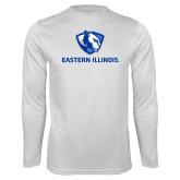 Performance White Longsleeve Shirt-Eastern Illinois Logo