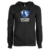 ENZA Ladies Black Fleece Full Zip Hoodie-EIU Primary Logo