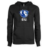 ENZA Ladies Black Fleece Full Zip Hoodie-Eastern Illinois Secondary
