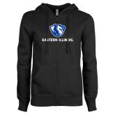 ENZA Ladies Black Fleece Full Zip Hoodie-Eastern Illinois Logo
